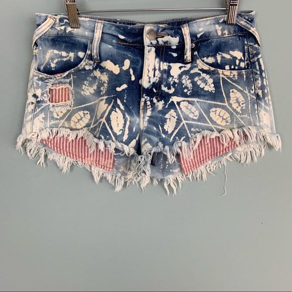 Free People Pants - Free People Bleached Striped Pocket Denim Shorts